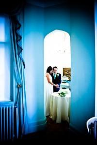 Cutting the Wedding Cake at Wadhurst Castle