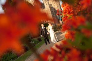 Photograph at a wedding with flowers at Wadhurst Castle