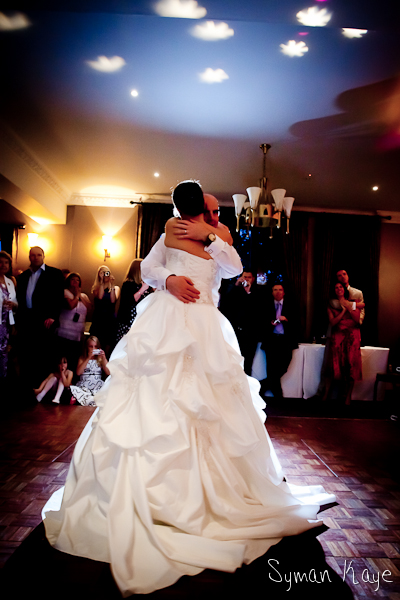 First dance of the couple on their wedding day and Nutfield Priory by photographer Simon Kaye